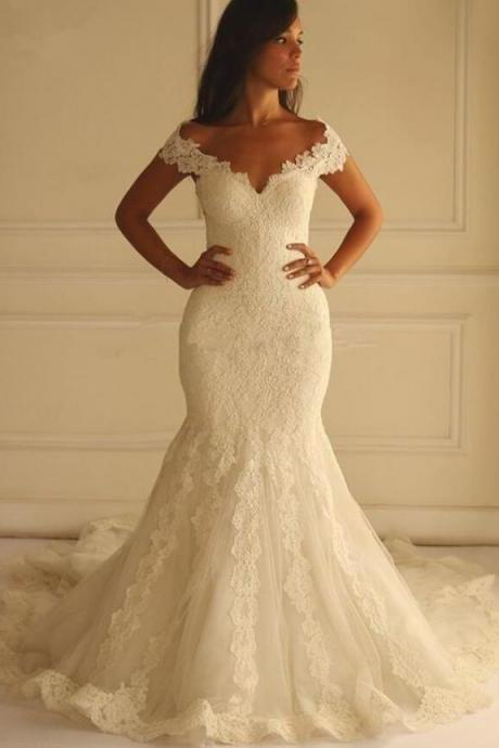 Off the Shoulder Mermaid Wedding Dresses with Lace Appliques