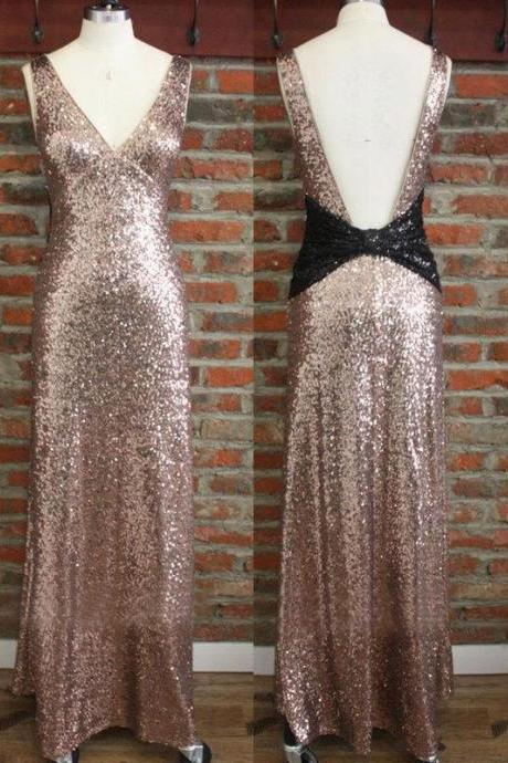 V Neck Sequined V Backless Long Bridesmaid Dresses Evening Dresses