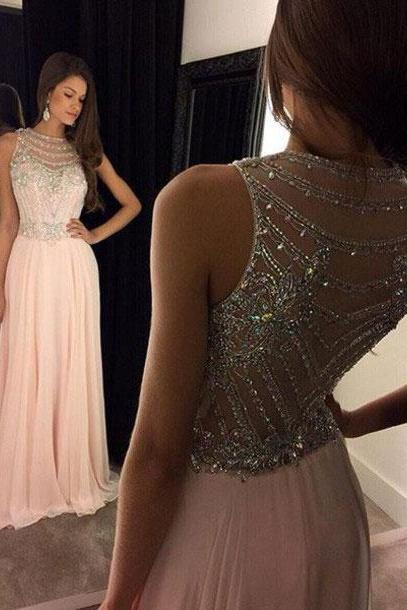 Sparkly Beaded Pink Prom Dresses Long Evening Dress