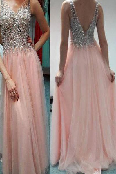 Sparkly Beaded Pear Pink Prom Dresses, V Neck Prom Dresses Long