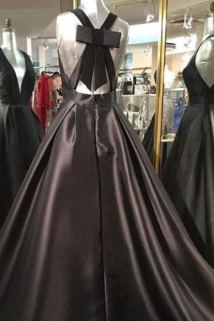 Elegant Bowknot Back Long Prom Dresses Evening Dresses with Pockets