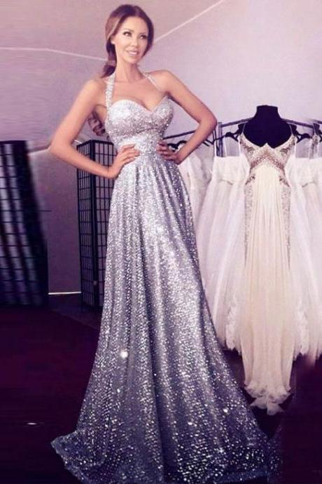 Charming Sequin Silver Long Prom Dresses Halter Evening Dress for Women