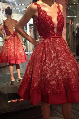 Deep V Neck Lace Dark Red Knee Length Vintage Prom Dresses Homecoming Dress