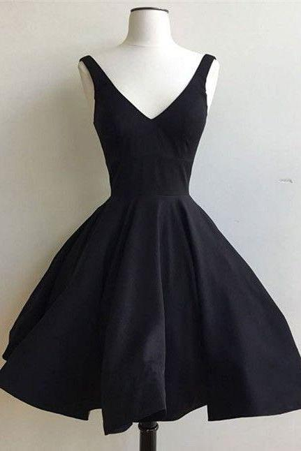 Black Plunge V Sleeveless Knee Length Ruffled Skater Dress, Little Black Dress, Homecoming Dress