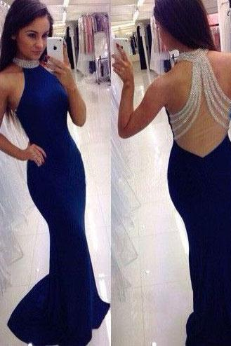 Elegant Royal Blue Mermaid Long Prom Dresses Evening Dresses with Beaded