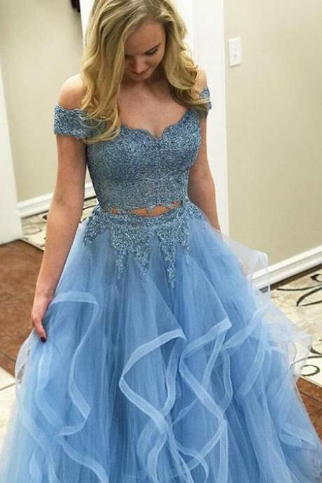 Sexy Sky Blue Two Piece Prom Dresses with Appliques, Sky Blue 2 Piece Prom Dresses