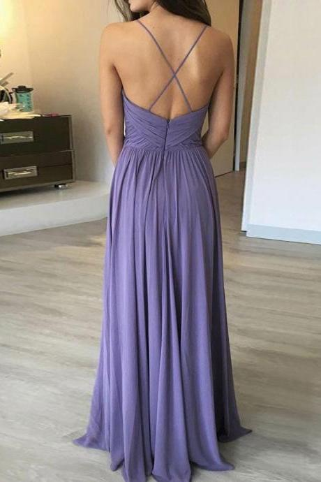 Elegant Spaghetti Straps Long Prom Dresses Bridesmaid Dresses with Ruches