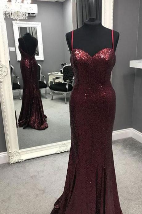 Sexy Srraps Sequined Burgundy Long Prom Dresses Evening Dresses for Women