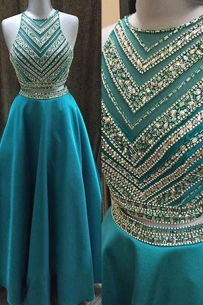 Spakly Beaded Two Piece Turquoise Prom Dresses Evening Dresses Long for Women