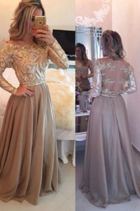 High Quality Long Sleeves Sheer Back Prom Dresses with Gold Appliques