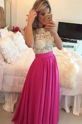 Elegant Fuchsia Long Prom Dresses with Pearls