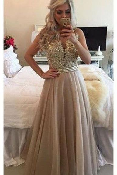 V Neck Sleeveless Gold Long Prom Dresses with Appliques