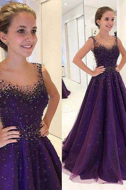Elegant Dark Purple Long Prom Dresses with Beaded, Long Prom Dresses