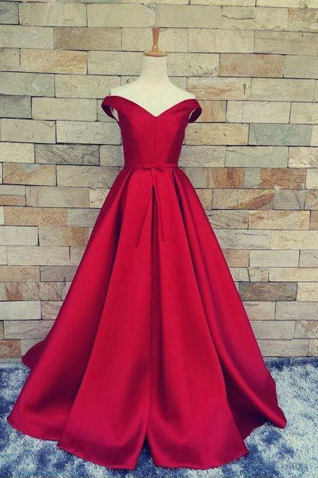 Off the Shoulder Red Long Prom Dresses Lace UP for Women with Sash