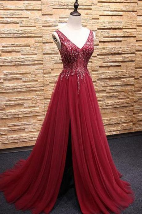 Elegant Tulle Slit Side Dark Red Long Prom Dresses with Sequined