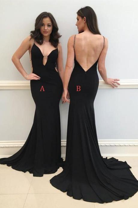 Sexy Long Black Backless Prom Dresses Evening Dresses with Beaded