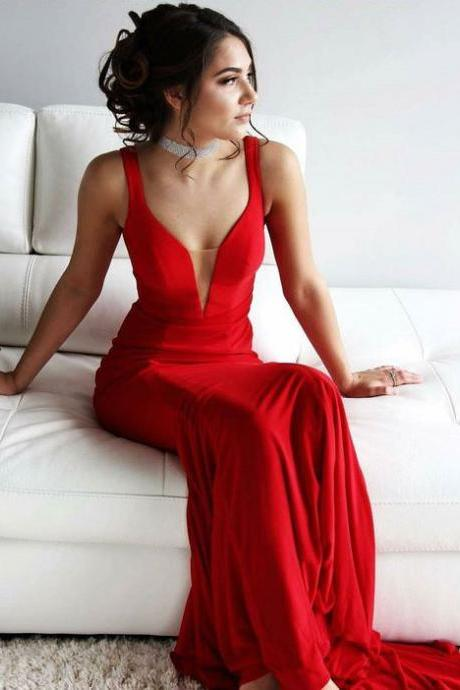 Charming Deep V Neck Sheath Red Prom Dresses Long Evening Dresses for Women