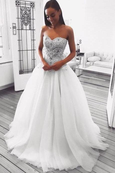 Charming Sweetheart White Wedding Dresses Bridal Dresses with Appliques