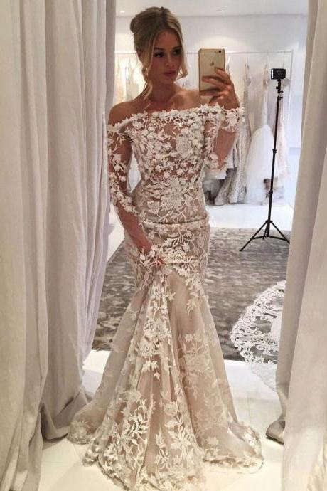 Charming Long Sleeves Mermaid Wedding Dresses Bridal Dresses with Handmade Flowers