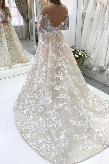 New Arrival Sheer Neck Long Sleeves Champagne Wedding Dresses with Appliques Lace