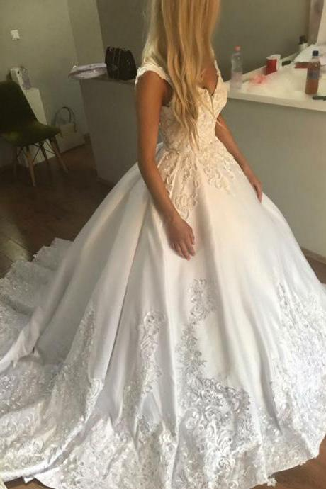 Charming V neck Taffeta Wedding Dresses Bridal Dresses with Appliques