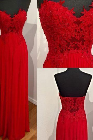 Elegant Sweetheart Chiffon Red Long Prom Dresses Evening Dresses with Appliques