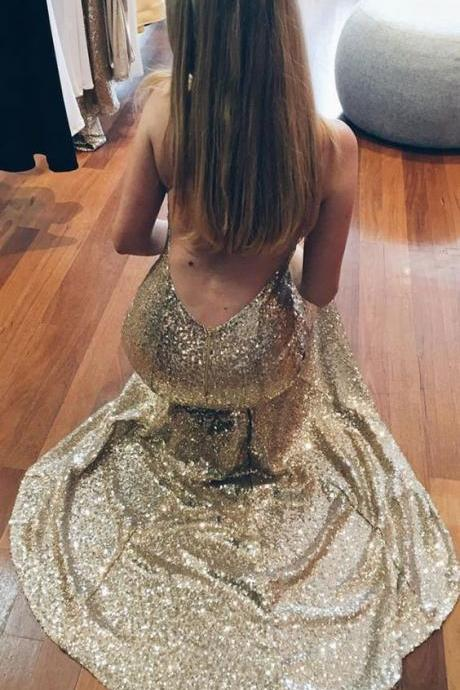 Sexy Criss Cross Backless V Neck Sequined Gold Prom Dresses Long Evening Dresses for Women
