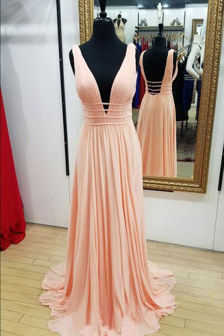 Deep V Neck Long Prom Dresses Evening Dresses Under 100