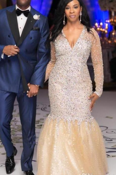 V Neck Long Sleeves Mermaid Prom Dresses with Sparkly Beaded