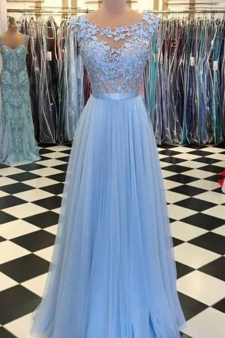 Charming Scoop Tulle Long Prom Dresses Evening Dresses with Appliques