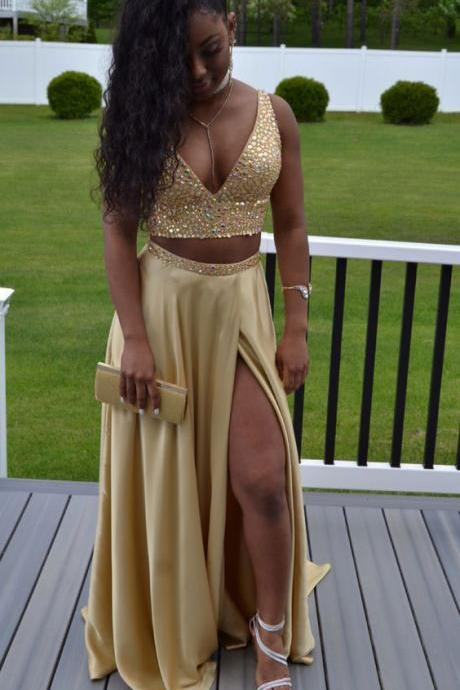 Sexy Two Piece Gold V Neck Split Side Prom Dresses with Beaded
