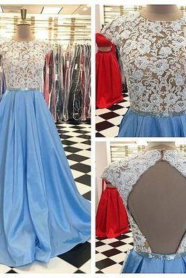 Elegant Cap Sleeves Open Back Long Prom Dresses with Sash