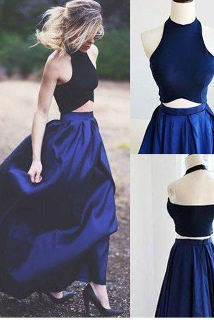 Sexy Two Piece Royal Blue Prom Dresses Evening Dresses with Pockets