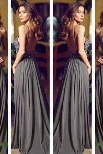 Elegant Halter Chiffon Gray Long Prom Dresses Backless Evening Dresses with Beaded