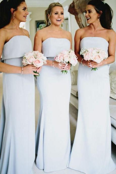 Strapless Sheath Bridesmaid Dresses for Wedding Party
