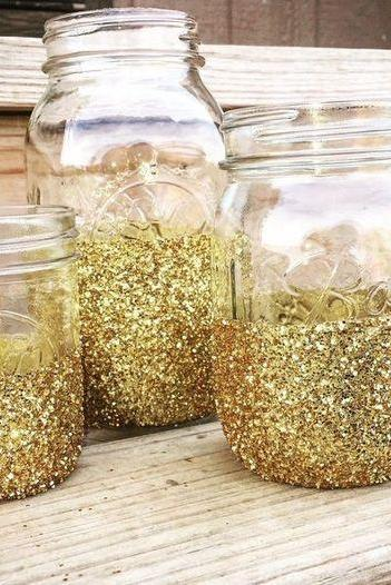 Half Gold Sequins Sparkly Mason Jar 3 Piece/Set , 350ML, 480ML and 500ML