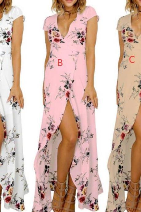Floral Print Casual Deep V Neck Beach Dresses with Split Side