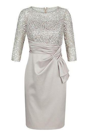 Knee Length Light Gray Mother of the Bride Dresses with Half Sleeves