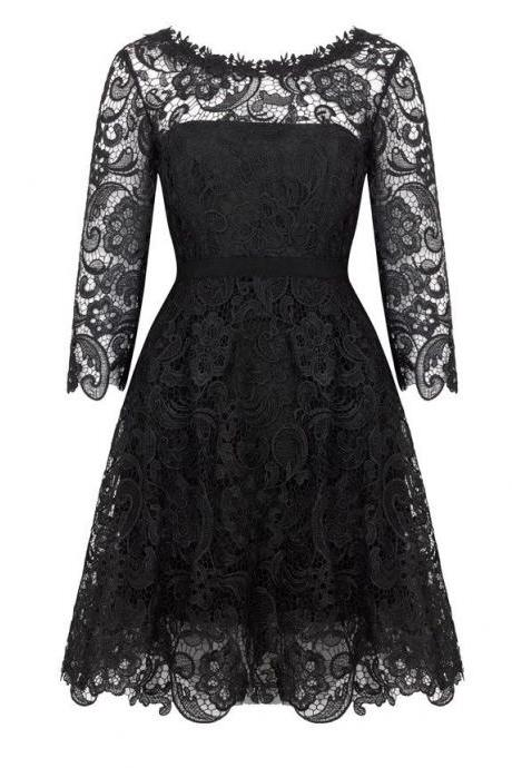 Scoop Black Lace Mother of the Bride Dresses with Long Sleeves