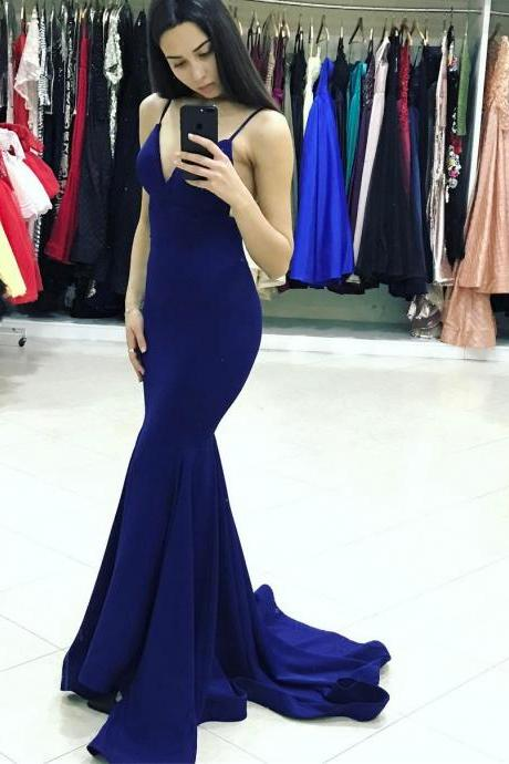 Elegant Royal Blue Mermaid Spaghetti Straps Prom Dresses