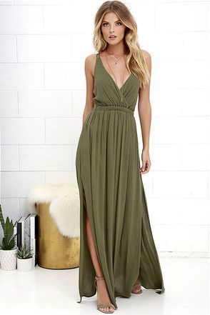 Olive Green Simple Long Prom Dresses Bridal Dress for Wedding