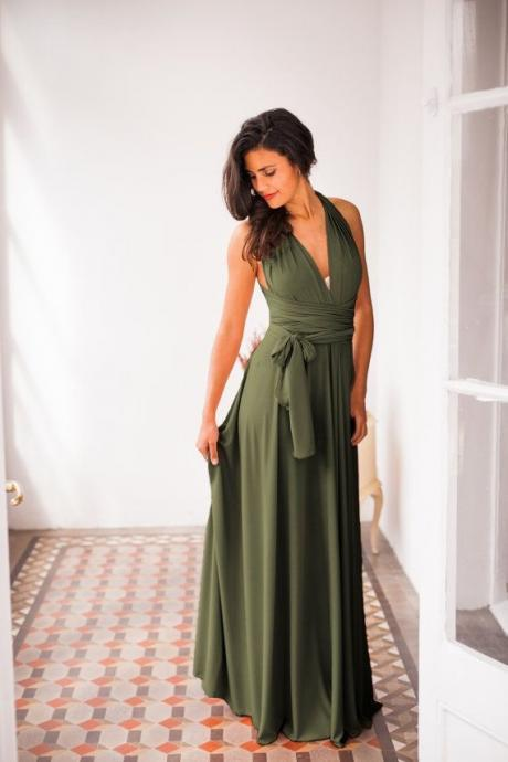 Hot Sell Olive Green Long Prom Dress Bridesmaid Dresses