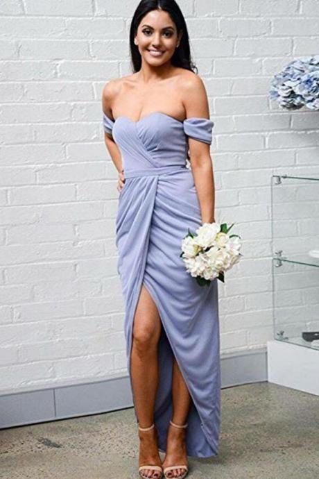 Off the Shoulder Split Side Bridesmaid Dresses for Wedding Party