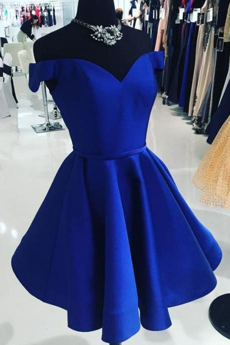 Royal Blue Off the Shoulder Short Homecoming Dresses Homecoming Dresses
