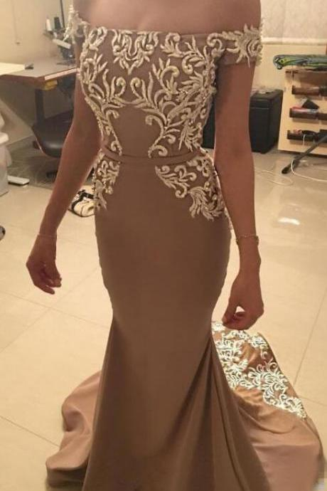 Off the Shoulder Mermaid Prom Dresses Bridesmaid Dress Evening Gown with appliques