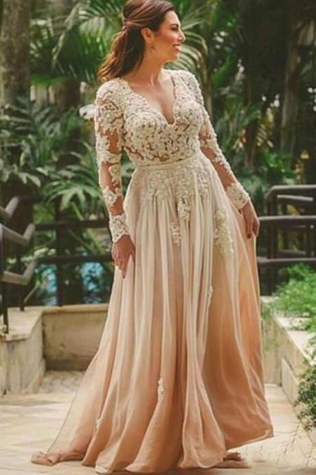 Backless Long Sleeves Bridal Dresses Wedding Dress with Appliques