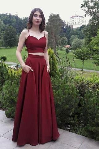 Two Piece Burgundy Spaghetti Straps Long Prom Dresses Evening Dresses