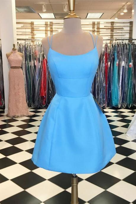 Sky Blue Criss Cross Short Homecoming Dresses Prom Dresses with Pockets