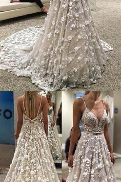 Spaghetti Straps Wedding Dresses Bridal Dress with 3D Flowers