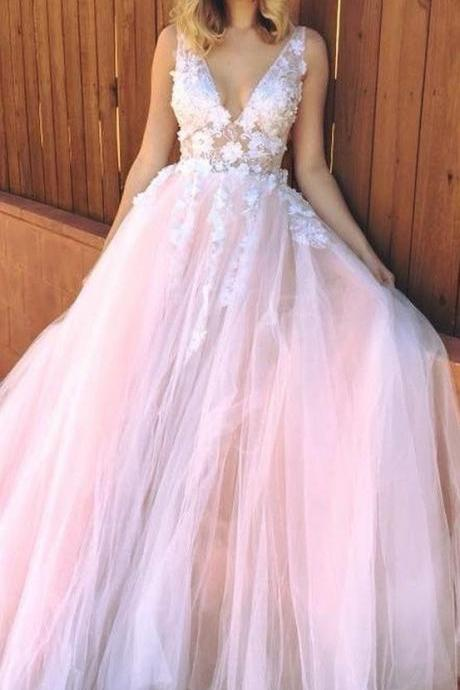 Sleeveless V Neck Tulle Pink Wedding Dresses with Appliques Lace